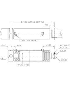 Hydraulic Cylinder 100mm Bore 50mm Rod 900mm Stroke