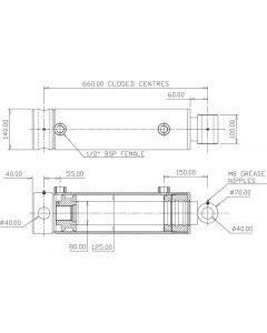 Hydraulic Cylinder 125mm Bore 80mm Rod 400mm Stroke