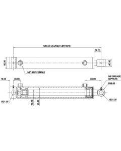 Hydraulic Cylinder 50mm Bore 30mm Rod 900mm Stroke