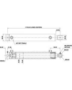 Hydraulic Cylinder 70mm Bore 40mm Rod 1000mm Stroke