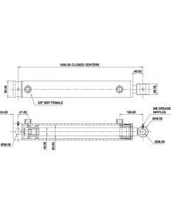 Hydraulic Cylinder 80mm Bore 40mm Rod 800mm Stroke
