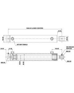 Hydraulic Cylinder 90mm Bore 50mm Rod 1100mm Stroke